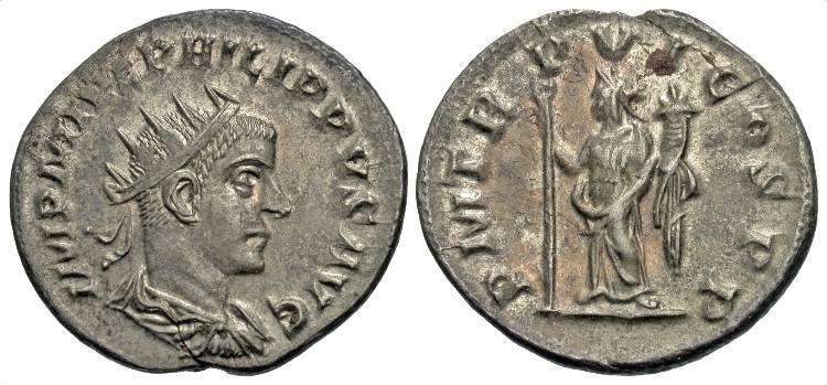 Ancient Coins - Philip II AR (Silver) Antoninianus--Antioch Mint, Superb!