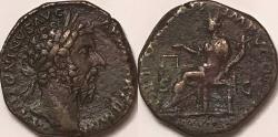 Ancient Coins - Marcus Aurelius AE Sestertius--Nice Portrait