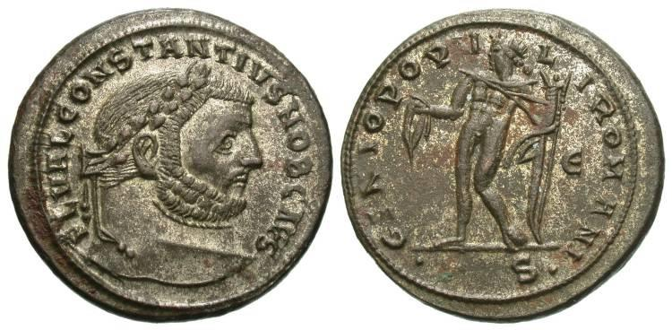 Ancient Coins - Constantius I Silvered Follis--Nice