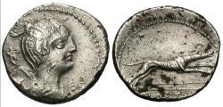 Ancient Coins - C. Postumius AR (Silver) Denarius--Strong details