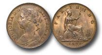 World Coins - EM341 -  Great Britain,  Victoria   (1837-1901), Bronze Farthing, 1881