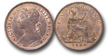 World Coins - EM620 - Great Britain, Victoria (1837-1901), Bronze Farthing, 1884