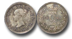 World Coins - EM495 - Great Britain, Victoria   (1837-1901), Silver Maundy Twopence, 1881