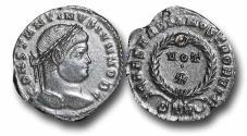 Ancient Coins - R18096 - Constantine II, as Caesar (A.D. 317-337), Bronze Follis, 3.19g., 20mm Treveri mint (Trier, Germany), second officina, A.D. 323-324, AU