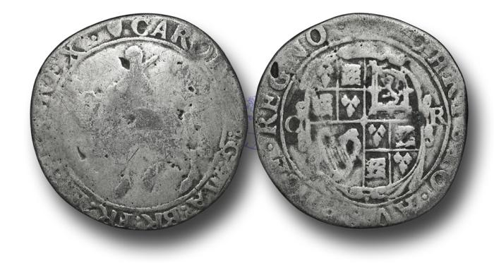 World Coins - H5320 - ENGLAND, Charles I (1625-1649), Contemporary Forgery as Tower mint under king, 1625-1642, Base Silver Halfcrown, 9.41g., 33mm, Group II, type 2a, m.m. Harp
