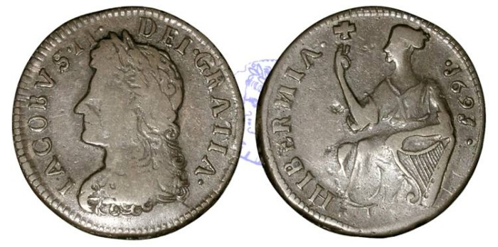 Ancient Coins - IR173 - IRELAND, James II (1685-1688/1691), Civil War Coinage, Limerick Besieged (1690-91), Farthing, 1691