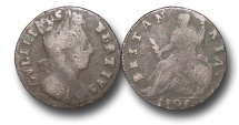 World Coins - EM299 - England, William III  (1694-1702), Copper Halfpenny, 1701