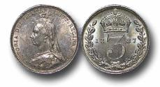 World Coins - MD1001 - GREAT BRITAIN, Victoria  (1837-1901), Maundy Silver Threepence, 1887