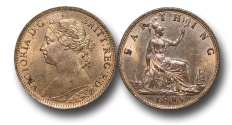 World Coins - EM345 -   Great Britain,  Victoria   (1837-1901), Bronze Farthing, 1885, (S.3958), orange, uncirculated. $130