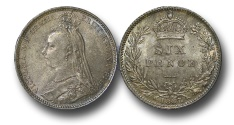 World Coins - EM586 - Great Britain, Victoria (1837-1901), Silver Sixpence, 1887