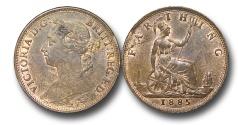 World Coins - EM576 - Great Britain,  Victoria  (1837-1901), Bronze Farthing, 1885