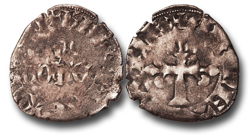 World Coins - SF10 - Anglo-Gallic, Aquitaine, Bergerac, Henry of Grosmont,  Earl of Lancaster and Lord of Bergerac (1347-1361), Billon Double à la couronne, Ex Steve Ford Collection.