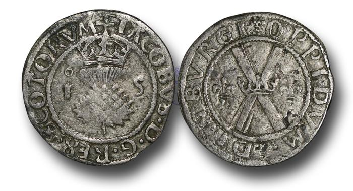 World Coins - S676 - SCOTLAND, James V (1513-1542) Third coinage (1538-1542), Billon Bawbee