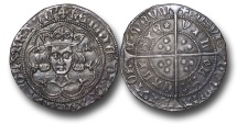 World Coins - TY2 - ENGLAND, HOUSE OF LANCASTER, Henry VI, First Reign (1422-1461), Groat, 3.80g., 28mm, Rosette-mascle issue (1427-30),  Calais mint
