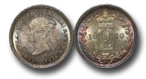 World Coins - EM430 - Great Britain, Victoria   (1837-1901), Silver Maundy Twopence, 1887, (S.3919), uncirculated, toned. $115