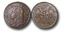 World Coins - IJF9 - IRELAND, James II (1685-1688/1691), Civil War Coinage (1689-91), Gunmoney Coinage, Small Size Sixpence, 3.70g., 23mm, July 1689