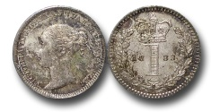 World Coins - EM557 - Great Britain, Victoria   (1837-1901), Silver Maundy Penny, 1883, (S.3920), uncirculated, toned. $95