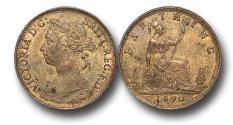 World Coins - EM343 -  Great Britain,  Victoria   (1837-1901), Bronze Farthing, 1890