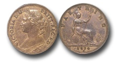 World Coins - EM316 -  Great Britain,  Victoria   (1837-1901), Bronze Farthing, 1874 H, struck under contract by Ralph Heaton & Sons, Birmingham