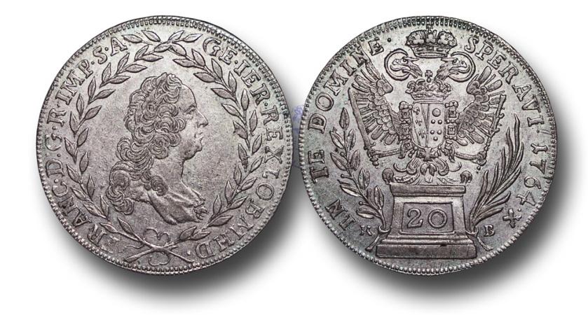 World Coins - ME719 - Austria, Holy Roman Empire, Franz I, Holy Roman Emperor (1745-1765), Silver 20 Kreuzer, 28mm, 6.65g., 1764 KB