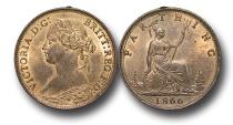 World Coins - EM262 -  Great Britain,  Victoria   (1837-1901), Bronze Farthing, 1866