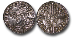 World Coins - TY5 - Anglo-Saxon, England, Harold Harefoot   (1035-1040), Sole Reign, Silver Penny, 0.95g., 19mm, Fleur-de-Lis type (c.1038-c.1040), Norwich