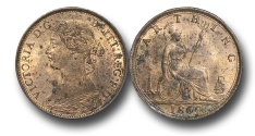World Coins - EM590 - Great Britain, Victoria (1837-1901), Bronze Farthing, 1860, Toothed Border