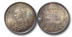 World Coins - EM552 - Great Britain, Victoria (1837-1901), Silver Sixpence, 1887,