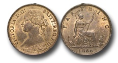World Coins - EM262 -  	Great Britain,  Victoria   (1837-1901), Bronze Farthing, 1866