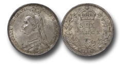 World Coins - EM585 - Great Britain, Victoria (1837-1901), Silver Sixpence, 1887