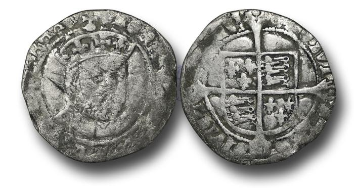 World Coins - H5303 - ENGLAND, TUDOR, Henry VIII (1509-1547), Groat, 2.48g., 24mm 3rd Coinage, London (Tower mint), m.m. Lis (both sides), Tower bust 3 / Laker E