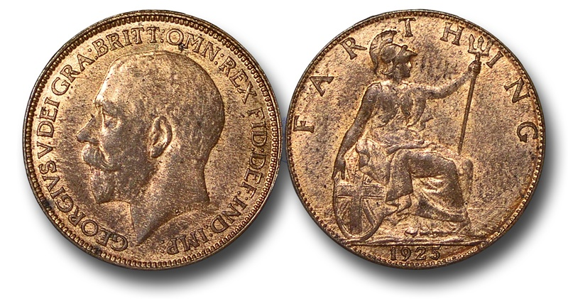World Coins - EM628 – Great Britain, George V (1910-1936), Bronze Farthing, 1925