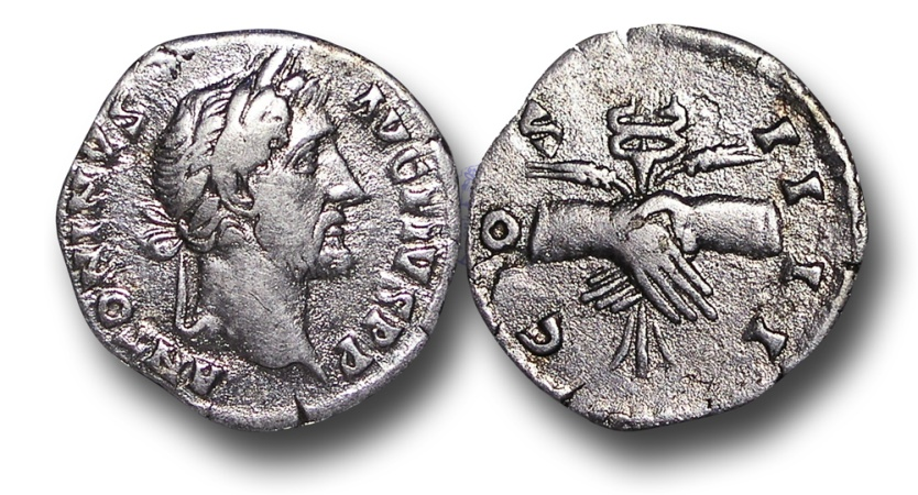 Ancient Coins - MR6 - Antoninus Pius (138-161), Silver Denarius, 2.98g., 18mm, Rome mint, A.D. 145-161