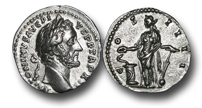 Ancient Coins - RPM57 - Antoninus Pius (138-161), Silver Denarius, 3.37g., 18mm, Rome mint, A.D. 158-159