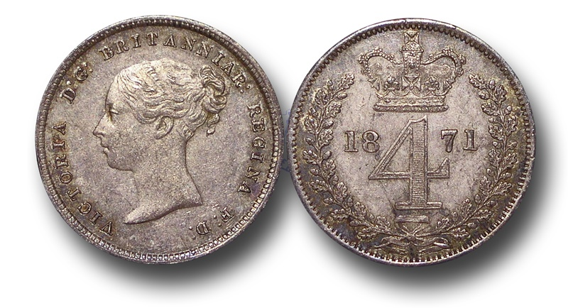 World Coins - EM146 - Great Britain, Victoria (1837-1901), Silver Fourpence, 1871