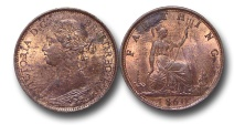 World Coins - EM607 - Great Britain, Victoria (1837-1901), Bronze 	Farthing, 1860, Toothed Border / Beaded Border MULE RARE