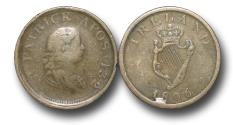 World Coins - IR9003 - Ireland, George III  (1760-1820), Copper Halfpenny, PATRICK APOS 432, Contemporary Imitation Regal Harp Evasive Issue, overstruck on an 1806 Irish penny