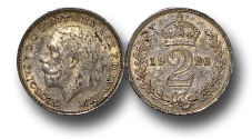 World Coins - EM124 – 	Great Britain,  George V (1910-1936), Silver Maundy Twopence, 1918