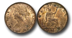 World Coins - EM468 -  	Great Britain,  Victoria   (1837-1901), Bronze Farthing, 1860, Beaded Border,