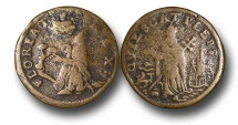 World Coins - EM16 – St. Patrick  or Mark Newby Coinage, struck in Dublin 1663-1672, Legal Tender in New Jersey from 1682, Copper Farthing