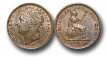 World Coins - EM50 - George IV (1820-1830), Copper Half-Farthing, 1828