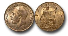 World Coins - MD1437 – Great Britain, George V (1910-1936), Bronze Farthing, 1918
