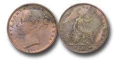 World Coins - EM323 -  Great Britain,  Victoria   (1837-1901), Copper Farthing, 1853