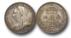 World Coins - MD1372 - Great Britain, Victoria (1837-1901), Silver Maundy Fourpence, Old Head, 1893