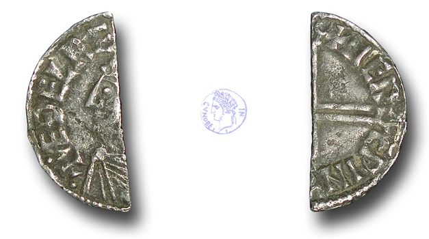 World Coins - H5415 - ENGLAND, ANGLO-SAXON, Aethelred II (978-1016), Silver Cut Halfpenny, 0.51g., Long Cross type (c.997-c.1003), Lewes - Merewine