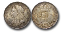 World Coins - EM497  - Great Britain, Victoria   (1837-1901), Silver Maundy Fourpence, Old Head, 1895