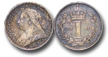 World Coins - EM654 - Great Britain, Victoria (1837-1901), Silver Maundy Penny, Old Head, 1897