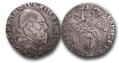 World Coins - AD66 - ITALY, Papal Coinage, Gregory XIII (1572-1585), Silver Testone, 29mm, 9.37g., Ancona mint
