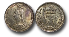World Coins - MD677 - Great Britain, Victoria (1837-1901), Silver Threepence, 1.42g., 16mm, 1887