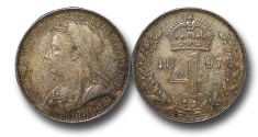 World Coins - EM489 - Great Britain, Victoria   (1837-1901), Silver Maundy Fourpence, Old Head, 1897